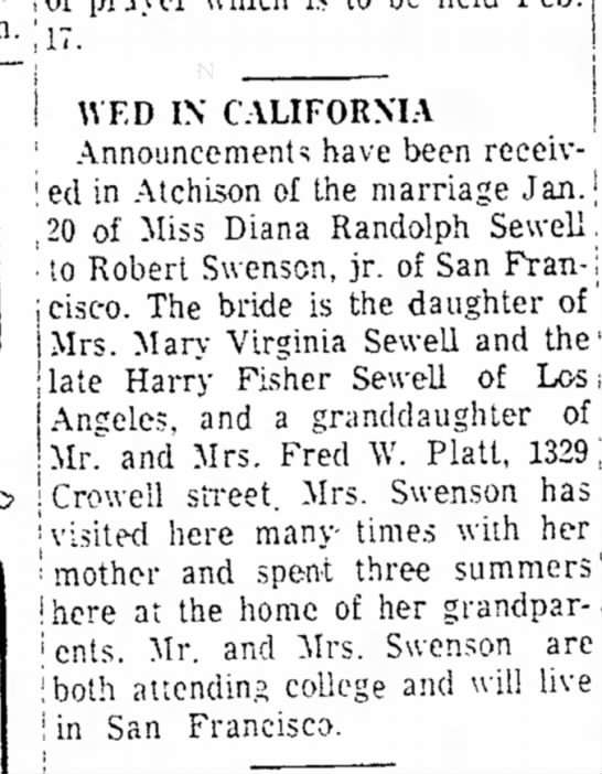Diana's first marriage to Robert Swenson -