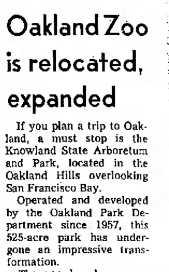 Oakland Zoo has Expanded - Long Beach Independent May 21, 1967 -