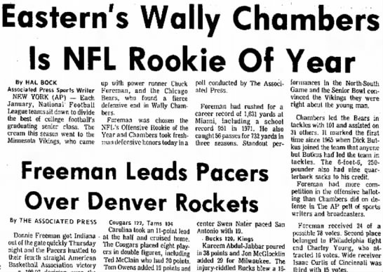 Eastern's Wally Chambers Is NFL Rookie Of Year -