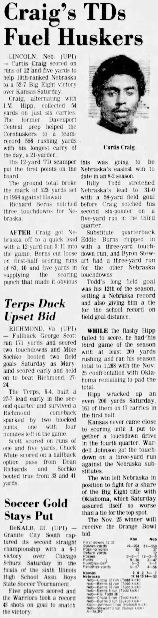 1977 Nebraska-Kansas football UPI -