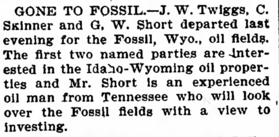 Gone to Fossil... Boise 28 Feb 1902 -