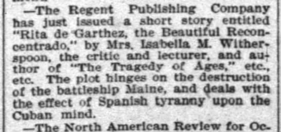 The Courier-Journal (Louisville, KY) October 8, 1898. Isabella W. Witherspoon, short story -