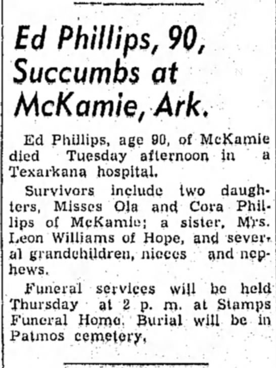 Ed Phillips obituary, Hope Star 31 Oct1956 p1 -
