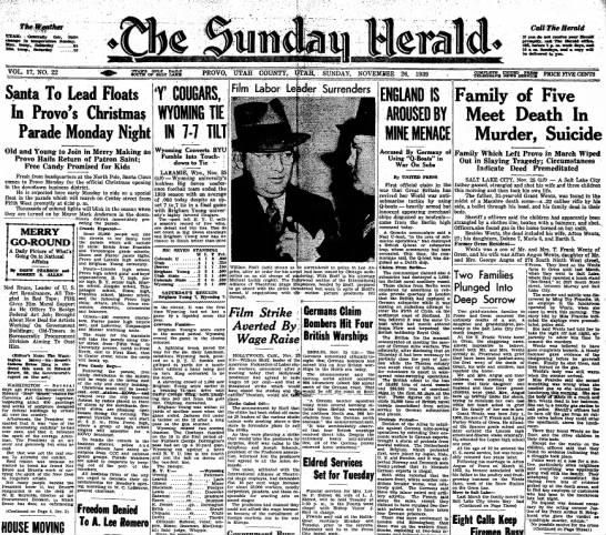 Grant Wentz Murder SuicideThe Sunday Herals 26 Nov 1939 -