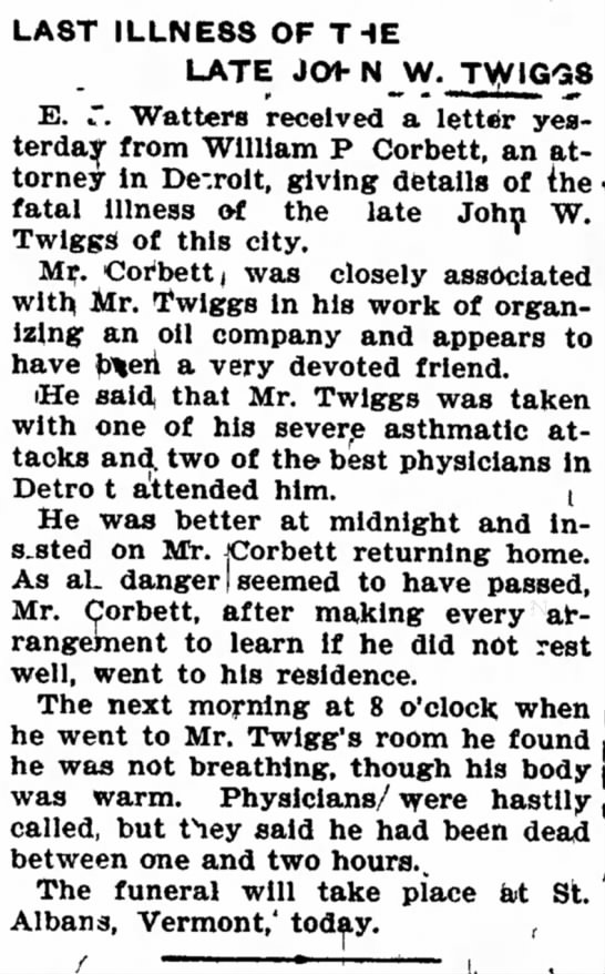 Last illness of JW Twiggs.. Boise 3 Aug 1902 -