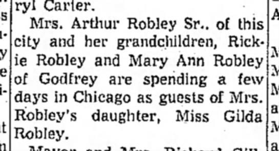 Mrs. Arthur Robley, Sr. visits Gilda-Alton Even. Telegram-7 July, 1959, page 3 -