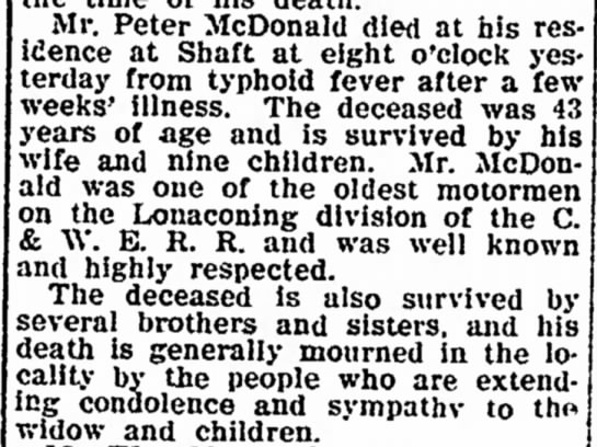 Obituary - McDonald, Peter - in 23. of Bon- Mr. Peter McDonald died at his...
