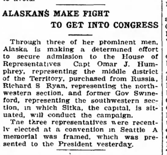 Capt OJ Humphrey elected as rep for Alasak to US Congress. 15Dec1905 -