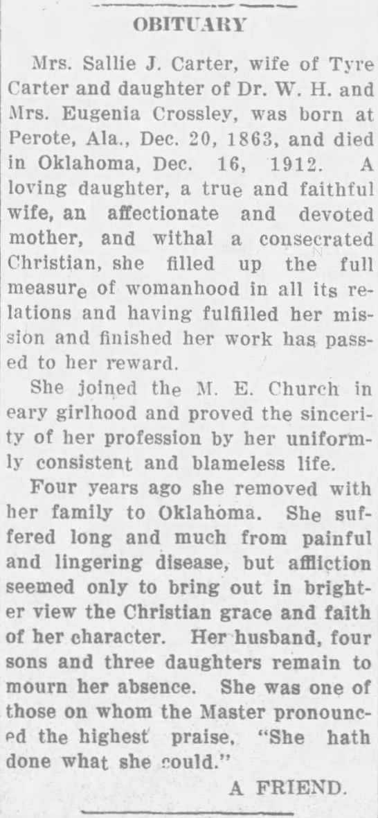 Sallie J  Crossley Carter obituary 1913 The Troy Messenger