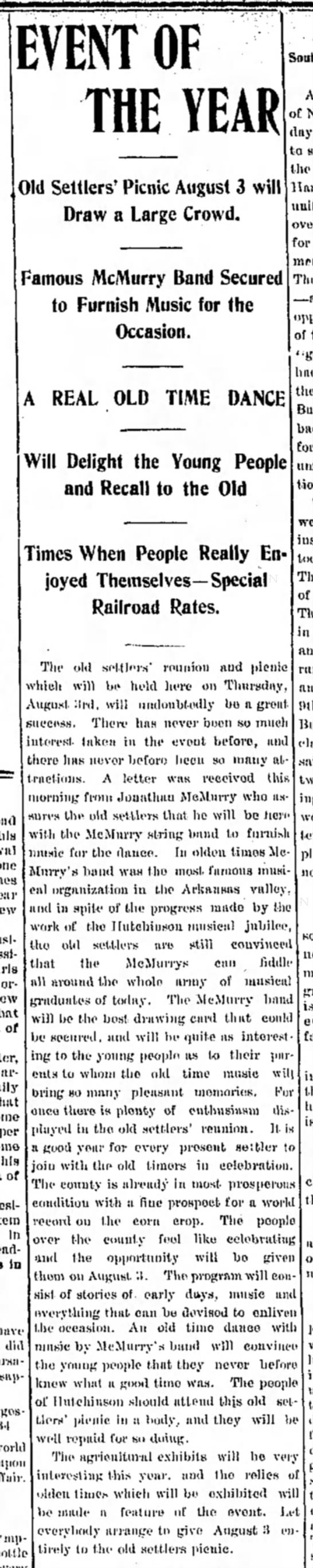 1899 Famous McMurry Band 26 July Hutch News P6 -
