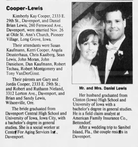 Kimberly Cooper Daniel Lewis Wedding Newspapers Com