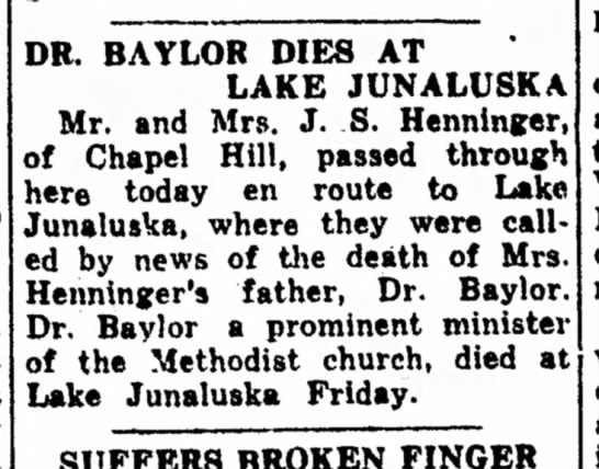 Death of Dr. Baylor -