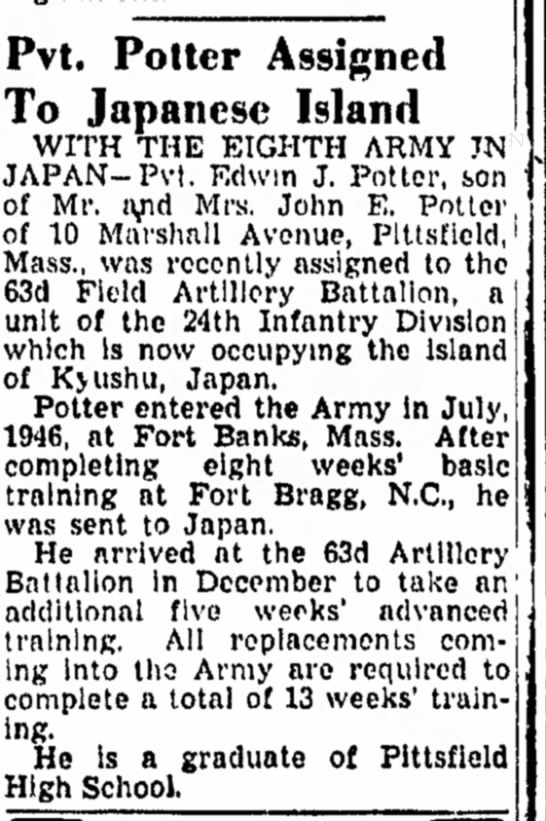 Pvt Potter Assigned to Japanese Island - 01-18-1947 -