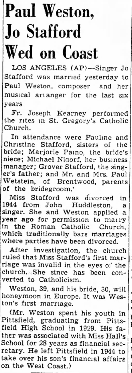 Paul & Jo-wedding & family details 1952 -