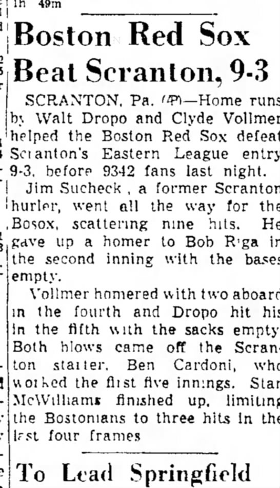Boston beats Scranton baseball 9-3  1950 -