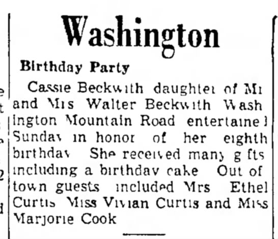 Celebration:  8th Birthday Party:  Cassie Beckwith  -  The Berkshire Eagle, June 21, 1950 (Wed) -