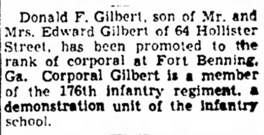 Donald Gilbert (b. 1920) - WWII Military Service - Berkshire Eagle, November 24, 1943 -