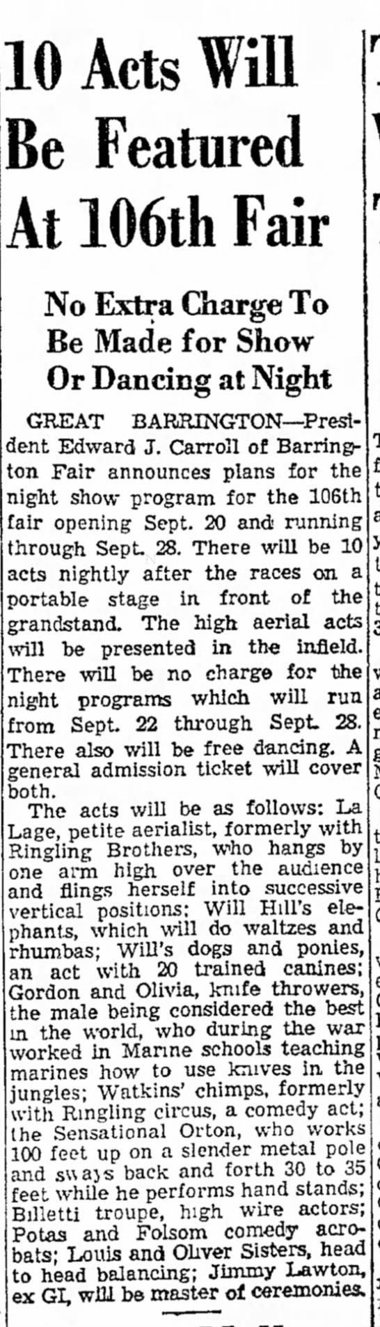 Billetti - Sept 11, 1947 The Berkshire Eagle - Pittsfield, MA -