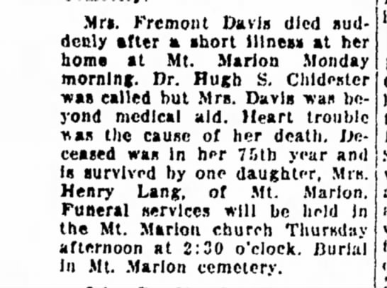 Harriet Brink died wife of fremont davis1feb1938thekingdalfreemankingnypg8 -
