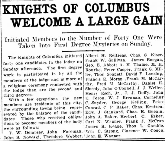 Peter Casper joining Knights of Columbus 10 June 1907.  Chronicle Telegram - of line. OF COLUMBUS WELCOME A LARGE GAIN...