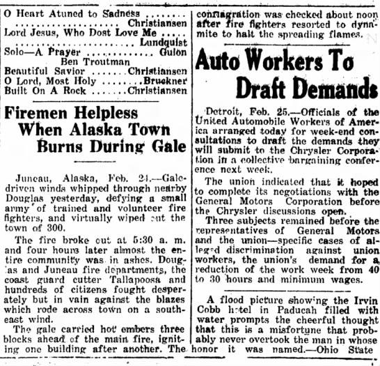 1937 fire at Douglas -