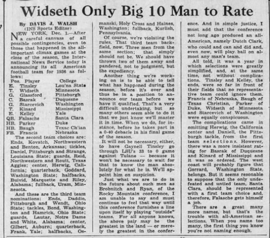 Widseth Only Big 10 Man to Rate -