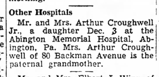Aunt Ethel & Uncle Art in birth of Wendy - Other Hospitals Mr. and Mrs. Arthur Croughwell...