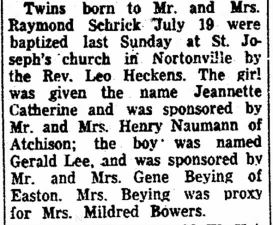 Beying twins Atchison 1948 -