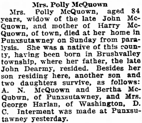 Mary Polly DeYarmin obit - j She was a native of this Mrs. Polly McQuown...