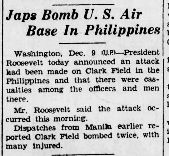 Japanese bomb Clark Field - Japs Bomb U. S. Air Base In Philippines...
