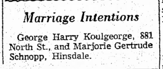 Marjorie Schnopp and George Koulgeorge post marriage intention - charge the Intentions George Harry Koulgeorge,...
