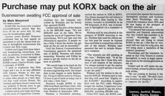 Purchase may put KORX back on the air -