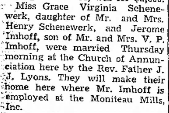 Grace Virginia Jane Schenewerk and Jerome N Imhoff marriage -