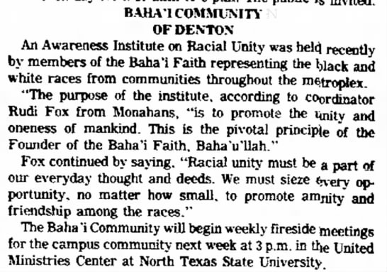 Baha'is engage in race unity excercise with Rudi Fox -
