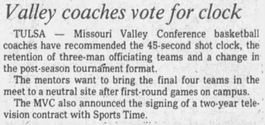 Valley coaches vote for clock -