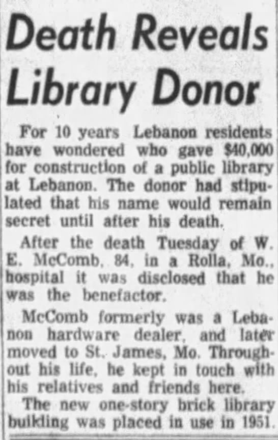 W E McComb found to be library donor after his death -