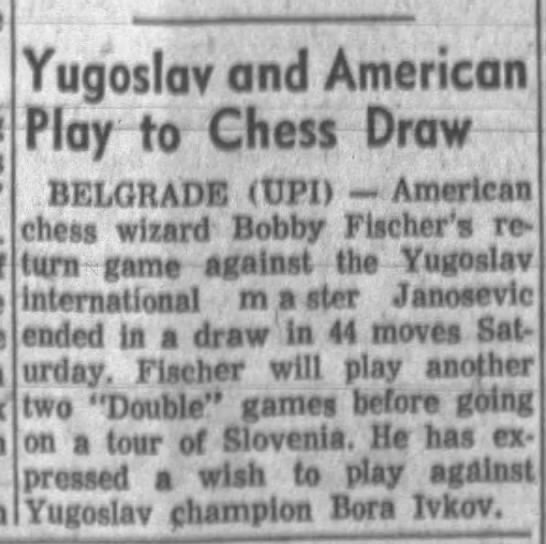 Yugoslav and American Play to Chess Draw -