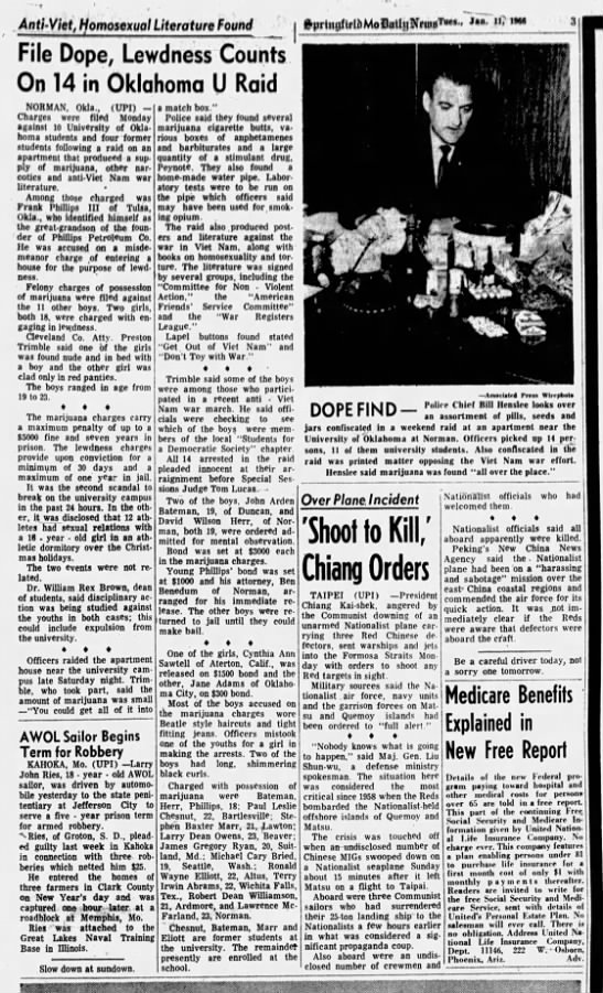 Springfield (MO) News-Leader 11 Jan 1966 Norman bust - . AntUViet, tjomosexual Literature Found File...