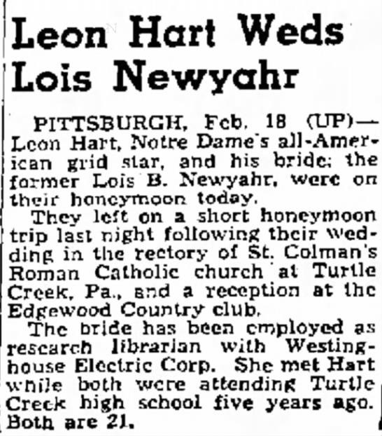 Leon Hart Weds Lois Newyahr -