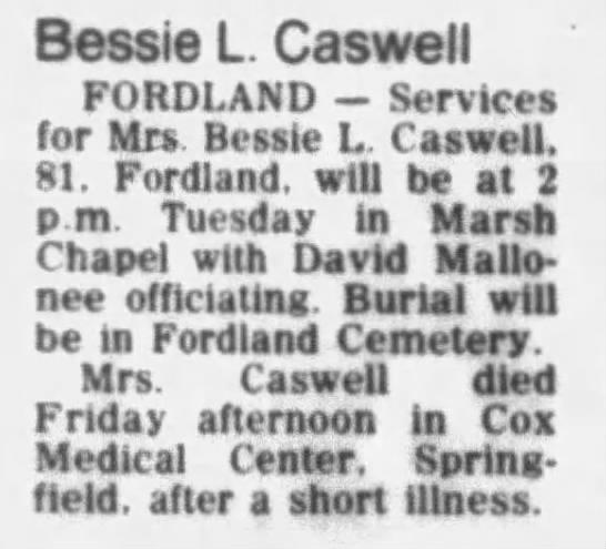 Bessie Caswell obit -