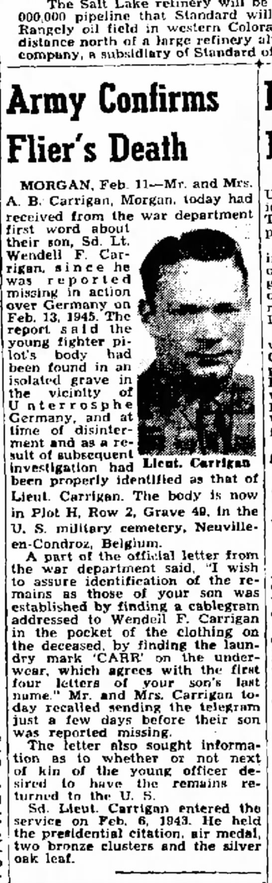 1948 Lt. Wendell Carrigan's death confirmed by Army -