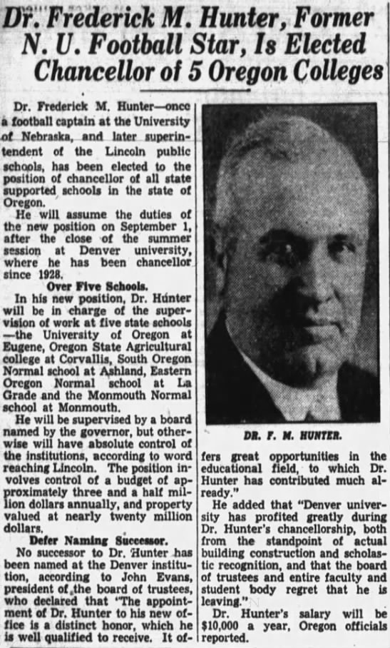 1935 Fred Hunter named chancellor in Oregon -
