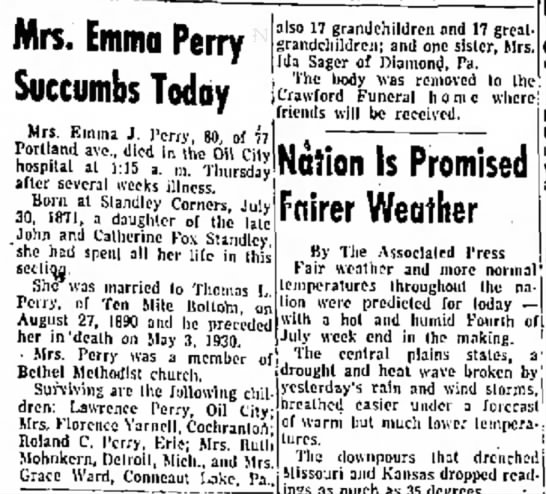 Mrs. Emma Perry Succombs Today -
