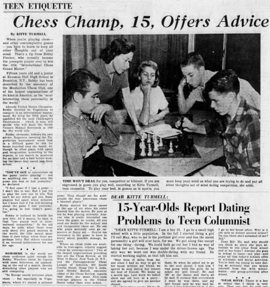 Chess Champ, 15, Offers Advice -