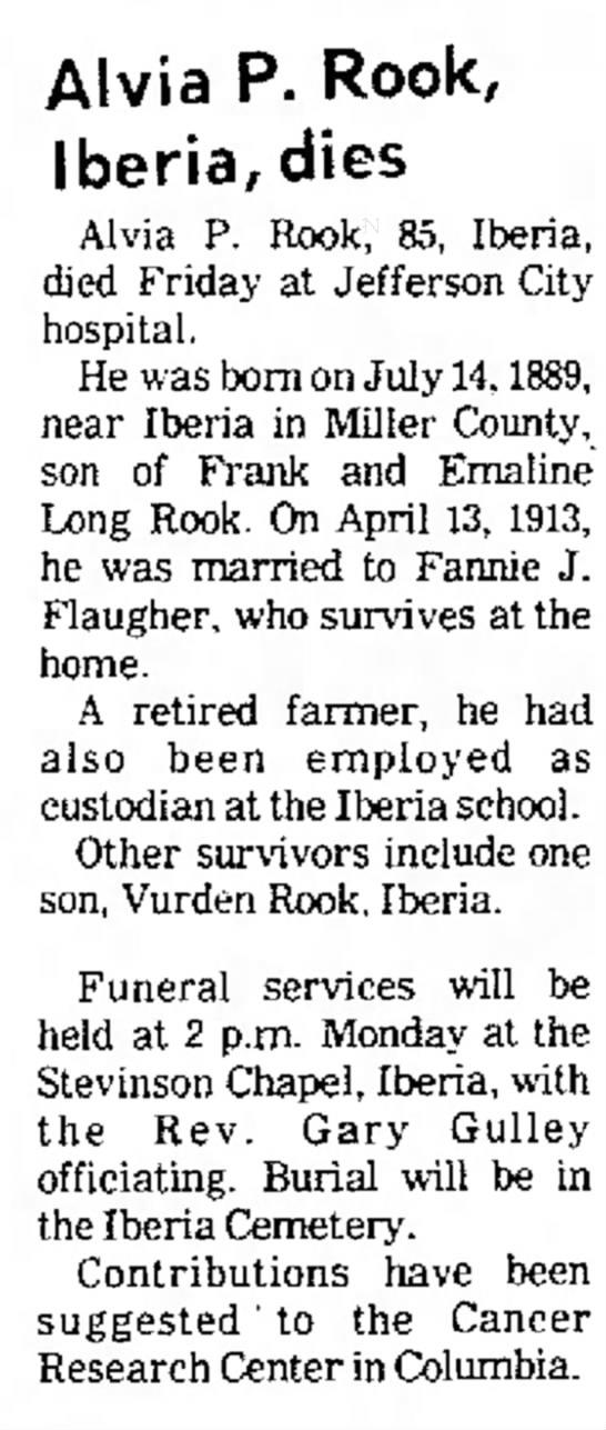 Alvia Prior Rook obituary -
