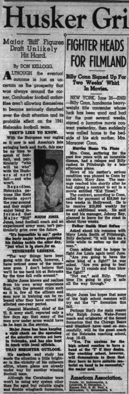 1941 Nebraska football and military draft -