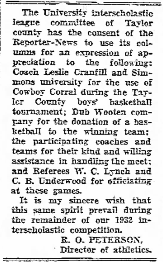 C B Underwood - 1932  UIL Taylor County Boy's Basketball Referee -