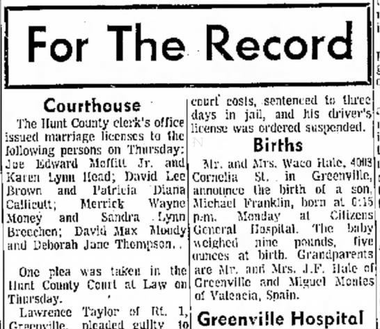 Miguel Michael Franklin Hale Birth Announcement Greenville Herald