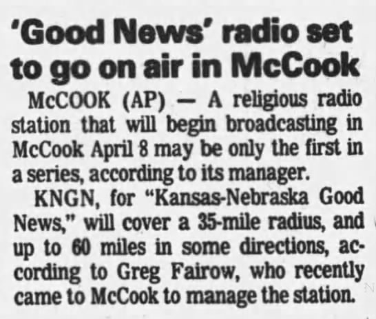 'Good News' radio set to go on air in McCook -