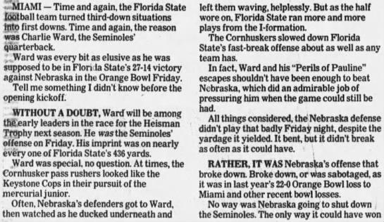 1993 Orange Bowl, Mike Babcock 1 -
